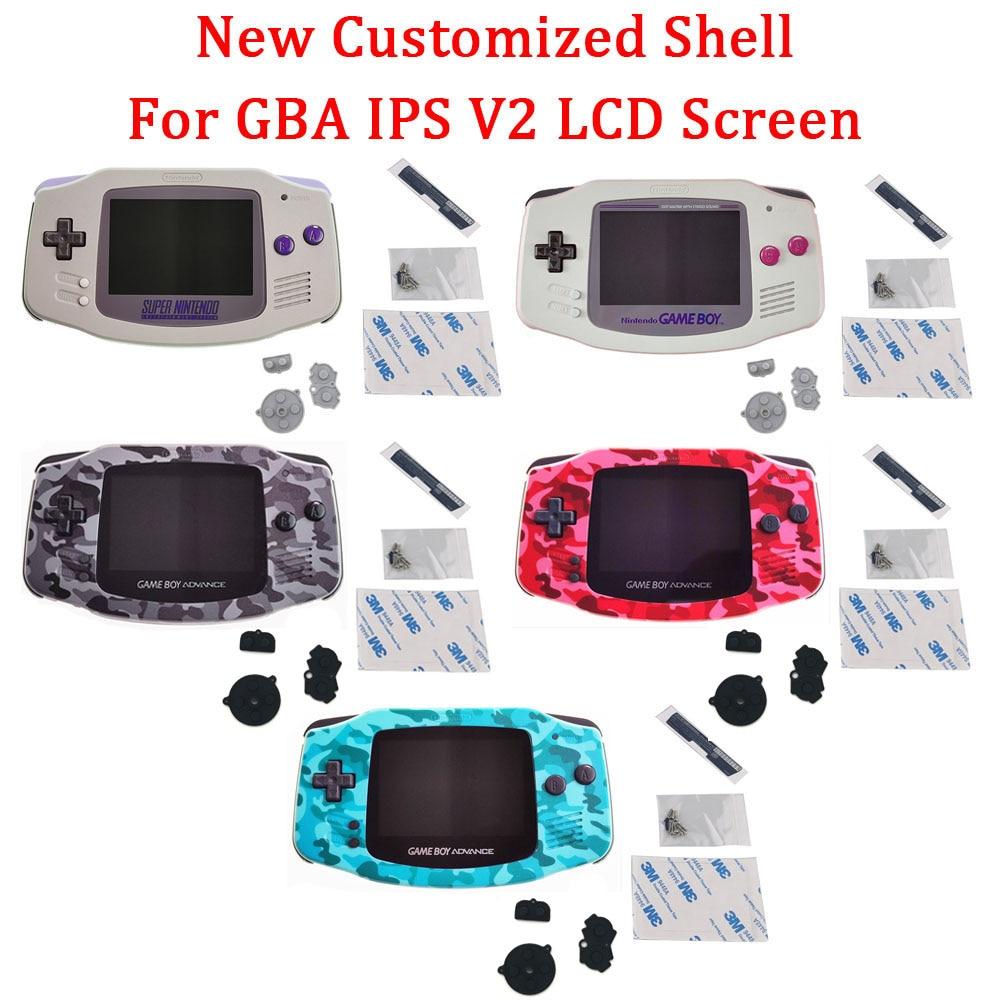 غلاف SNES لـ GBA IPS V2 LCD ، مبيت أصلي مقطوع مسبقًا لـ GAMEBOY ADVANCE ، مبيت مبيت مع عدسة زجاجية وأزرار
