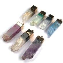 Подвеска из натурального камня, хрустальные Агаты, Подвески для изготовления ювелирных изделий, ожерелье «сделай сам» с подвесками, подаро...