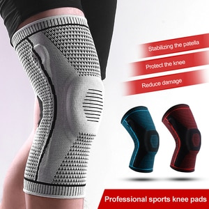 1pcs Knee Patella Protector Brace Outdoor Compression Sports Silicone Spring Breathable Support Basketball Running Knee Pads