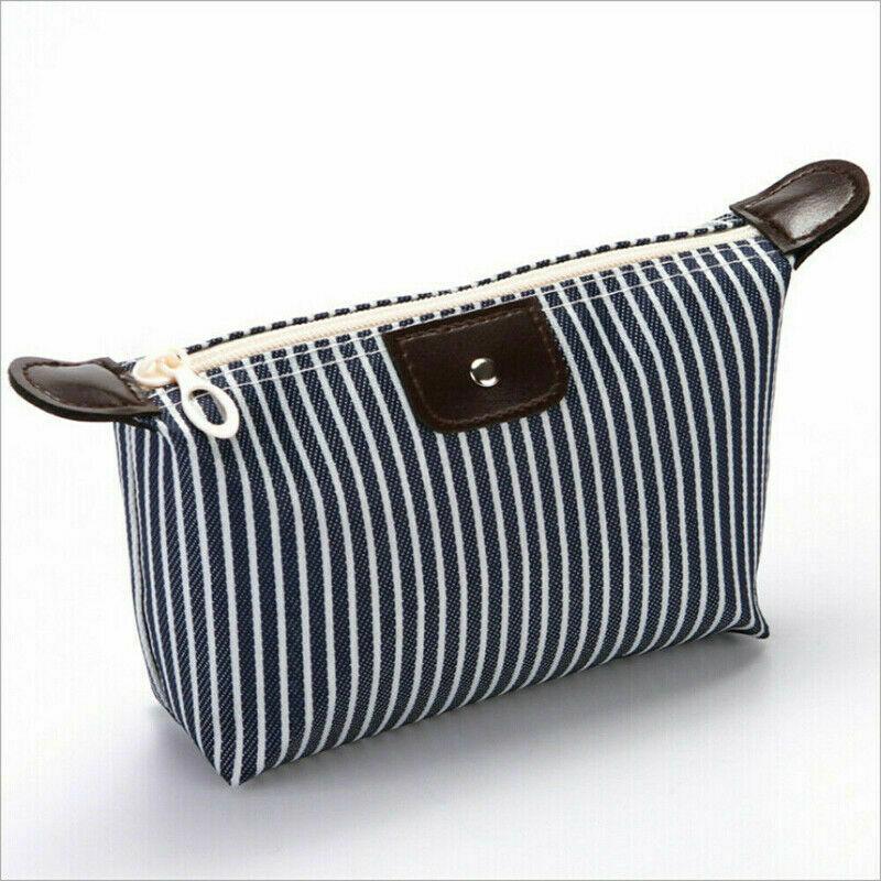 New Women Striped Travel Cosmetic Bag Makeup Bag Handbag Female Zipper Purse Small Cosmetics Make Up