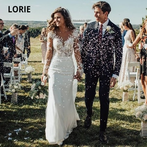 LORIE Long Sleeve Lace Wedding Dresses Mermaid Chiffon Bridal Gown Turkey Plus Size 2020 Illusion Button Wedding Party Gowns