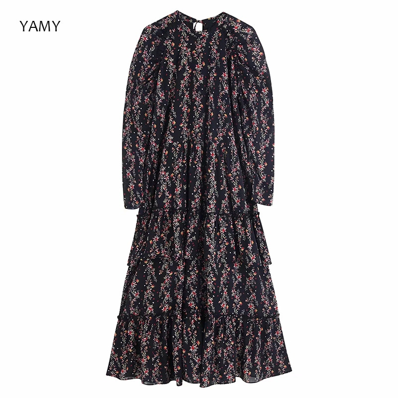 Zora vestido feminino floral de cintura alta, novo design de 2019 vestido de manga comprida vintage za roupas