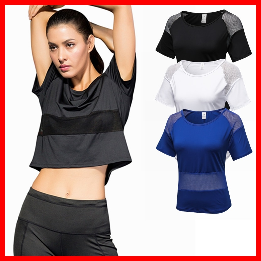 Yoga Shirt Sexy Mesh Workout Quick Dry Sports Suit Loose Leisure Running Fitness Clothing Gym Breathable Women Sportswear