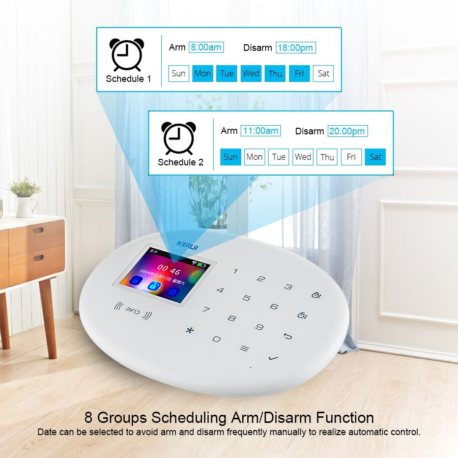 KERUI Smart Home Security Alarm System GSM APP Fortification Color Screen Touch Keyboard 2.4G WIFI Wireless Network Connection enlarge