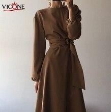 VICONE Corea del Sur Hepburn viento puro Color cosecha cintura vestido elegante mujer Flavour