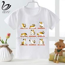 Enfants Panda Chat Chien Yoga T-shirts Garçons Filles Animal Yoga T-shirt Enfants Dessin Animé Top T-Shirts
