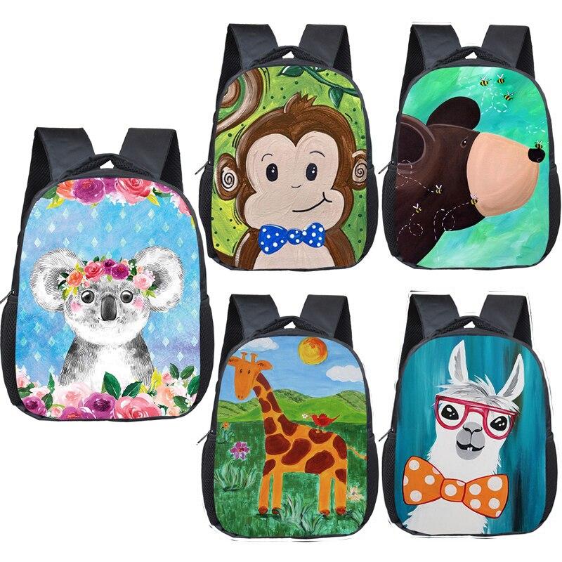 Bolsas de Escola Criança do Jardim de Infância do Miúdo Mochila do Bebê Bonito Coala Urso Macaco Girafa Mochila Crianças Meninos Meninas Bookbag Presente