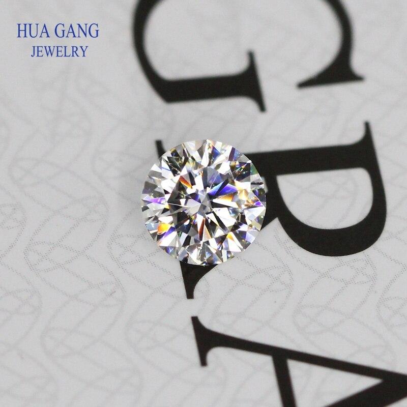 Moissanite 0,3 ~ 10mm D Color suelta piedra moissanita brillante redondo corte gemas VVS1 anillo pulsera joyería DIY Material laboratorio diamantes