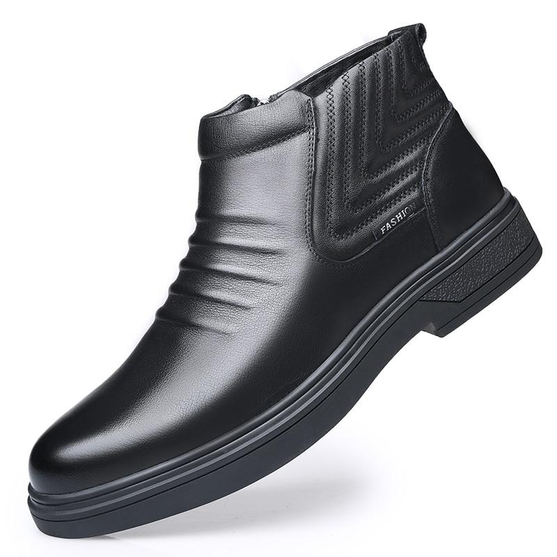 موضة الرجال الثلوج أحذية الرجال تسولي أحذية من الجلد الرجال الصوف الدافئة الشتاء أحذية الرجال الأحذية جلد البقر والجلود الناعمة وحيد قذيفة