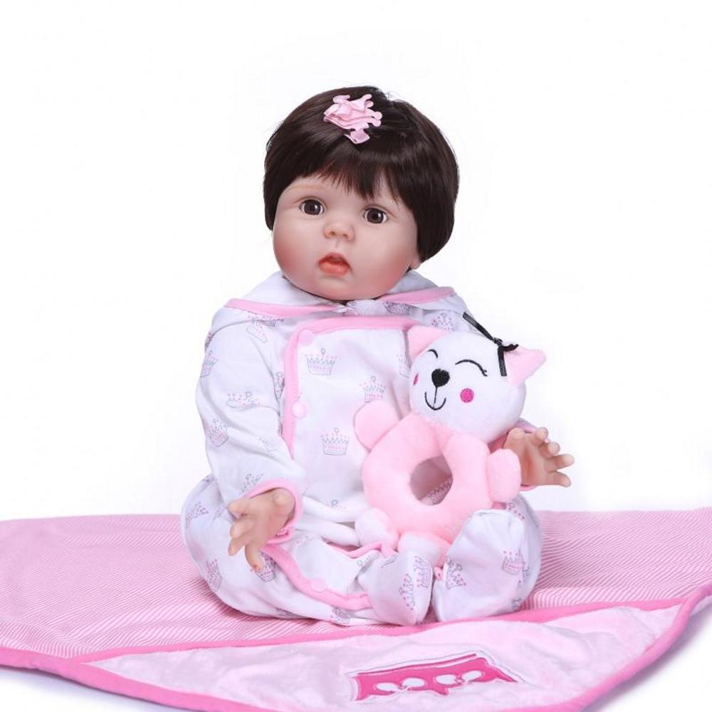 Baby Reborn Doll 55CM Soft Silicone Vinyl Realistic Reborn Baby Dolls Girl Adorable Lifelike Magnetic Dummy Reborn Toddler Birth