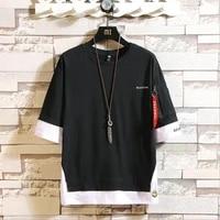 2020 summer cotton top tees tshirt fashion half short sleeves o neck print t shirt mens plus size m 5x
