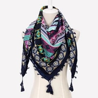 large size cotton russian square scarf for women national floral print head hijab scarves ladies tassel winter scarf blanket
