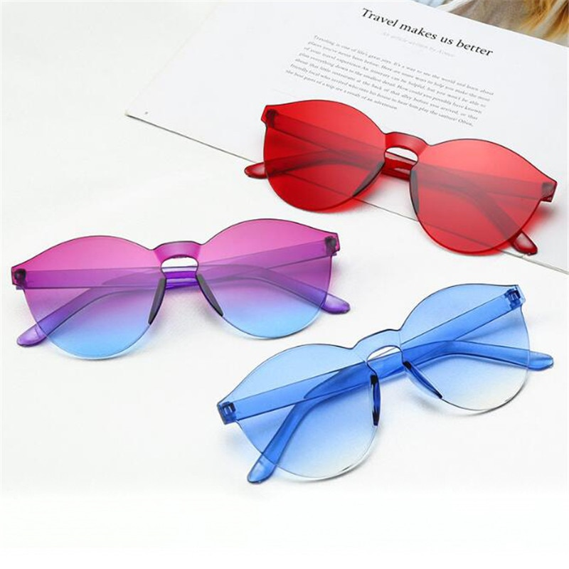 Cheap Rimless Sunglasses Women Fashion Round Ocean Candy Lens Shades Female Sun Glasses Girls Gafas