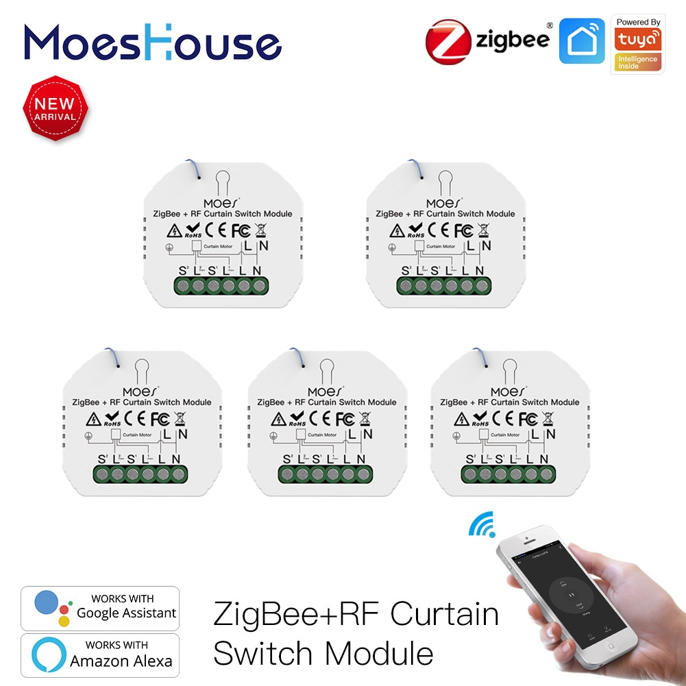 MoesHouse переключатель для штор, умный двигатель для штор, роликовый затвор, роликовые жалюзи, оконные жалюзи, электрический переключатель zigbee