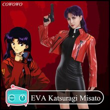 Anime! EVA Katsuragi Misato Red Jacket Sexy Tights Battle Suit Uniform Cosplay Costume Halloween Outfit For Women Free Shipping