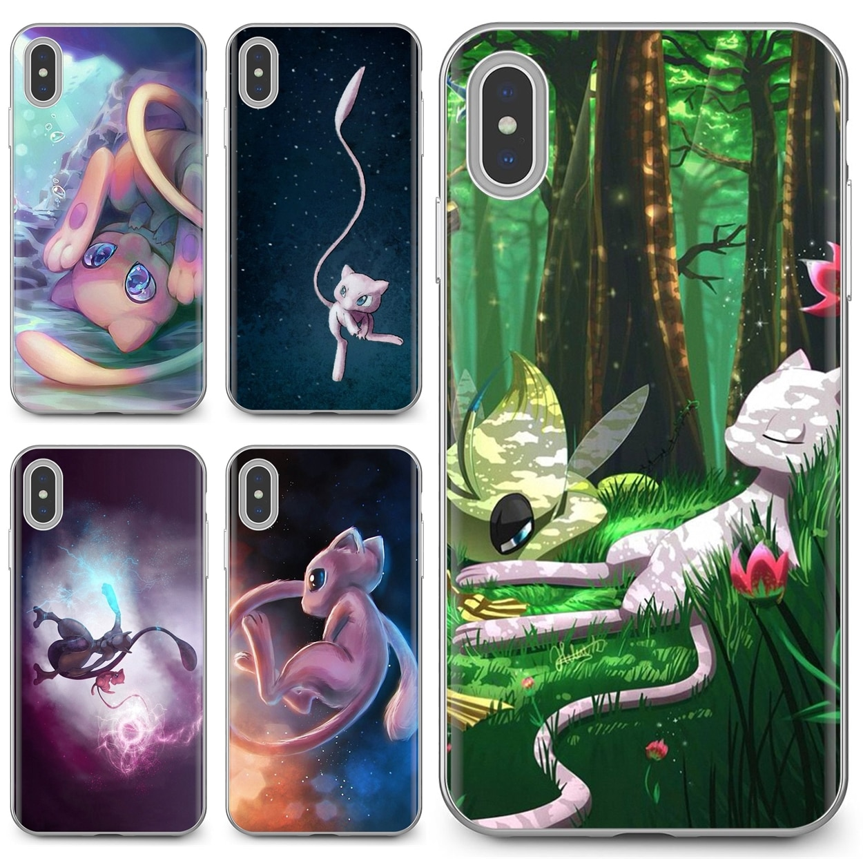 Para iPhone 11 Pro 4 4S 5 5S SE 5C 6 6S 7 8X10 XR XS Plus para iPod Touch pintura mew Games mewtwo funda de silicona para teléfono