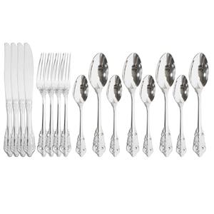 Luxury 16Pcs/Set Silver Cutlery Set 304 Stainless Steel Dinnerware Set Knife Fork Spoon Dinner Flatware Set Mirror Tableware Set