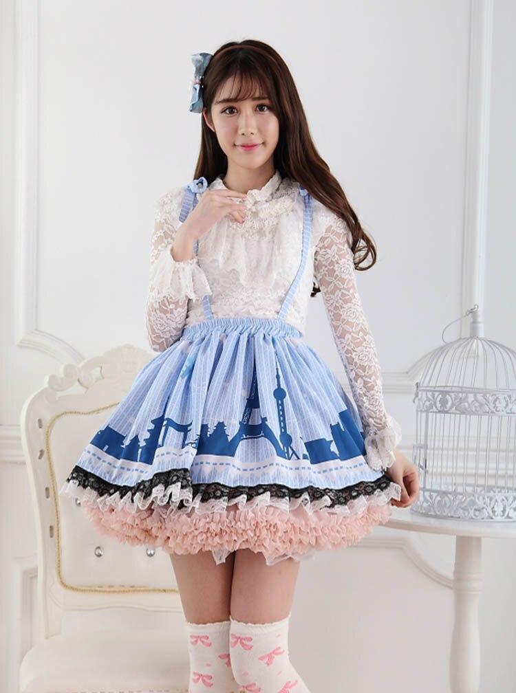Faldas princesa dulce lolita original rosa azul cinturón urbano moderno Lolita princesa encaje plisado Falda corta mujeres GZWY220