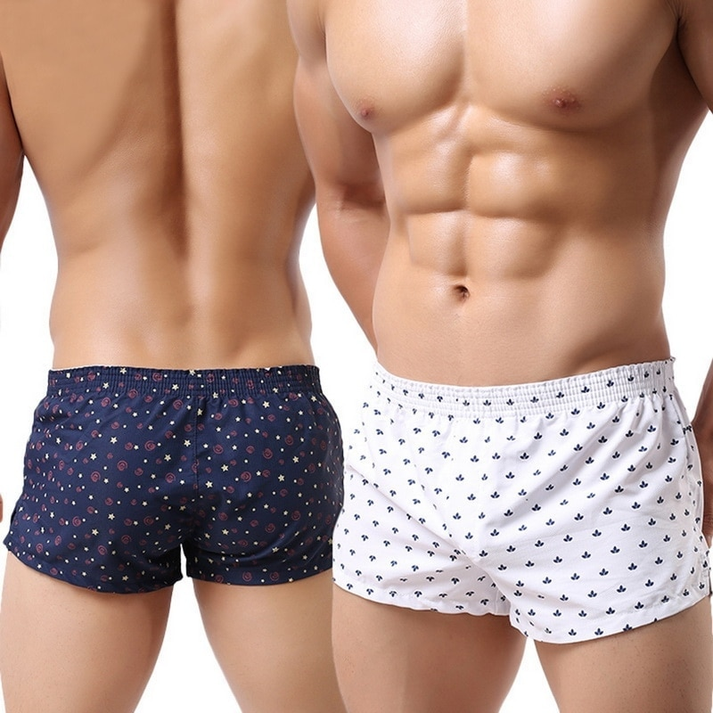 2021 Men Underwear Boxer Shorts Loose Breathable Sleepwear Trunks Dot Print Men Shorts Underwear Pan