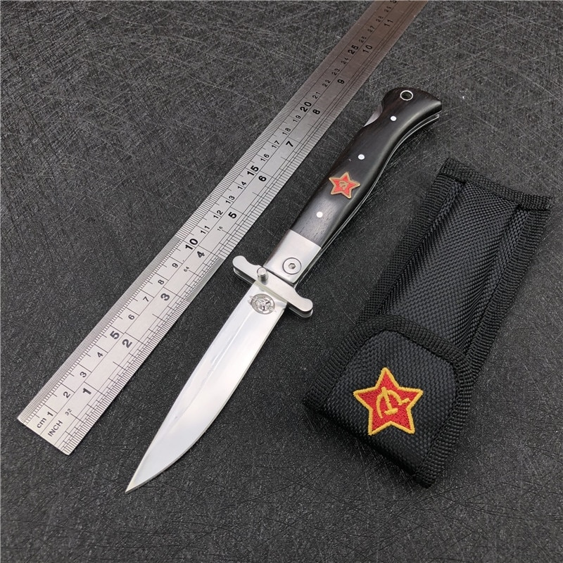 Finka NKVD KGB wit EDC Manual Folding Pocket knife black and white resin handle 440C blade Mirror Finish Outdoor Camping Tool