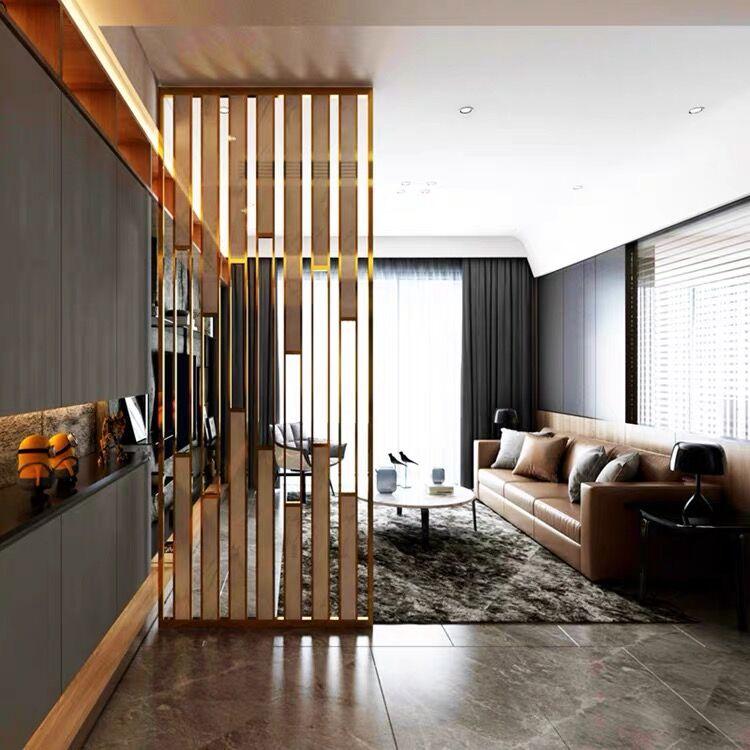 شاشة فاخرة من الفولاذ المقاوم للصدأ ، قسم المدخل ، غرفة المعيشة وغرفة النوم المأوى ، شاشة معدنية منزلية