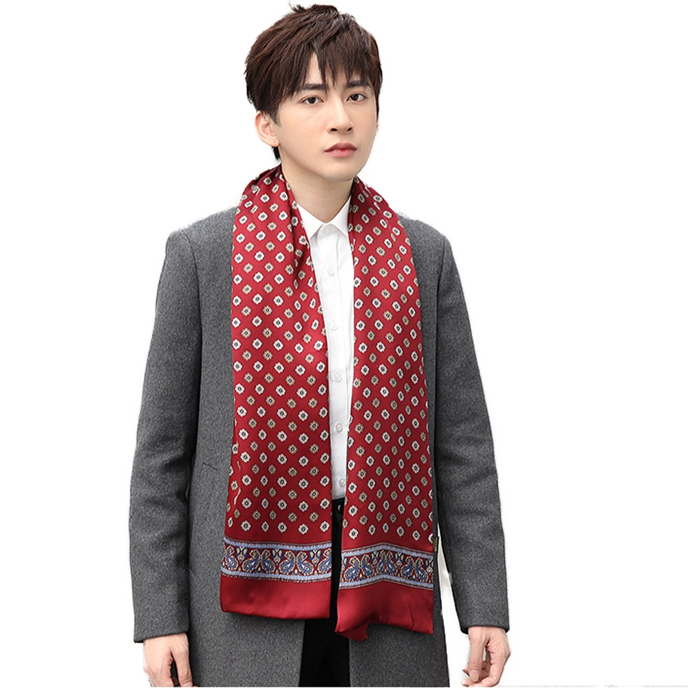 Pañuelo 100% de seda auténtica para hombre, pañoleta Floral de doble capa para regalo de Navidad, elegante pañuelo negro rojo azul café