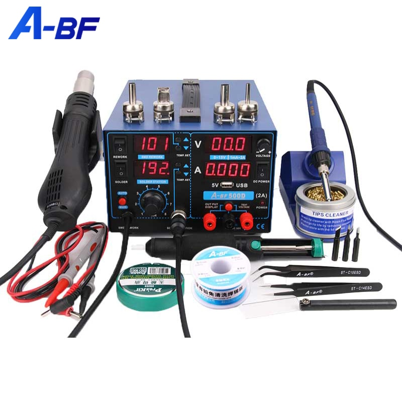A-BF Rework Digital Soldering Station Upgrade SMD 3-IN-1 Mobile PCB Repair Hot Air Welding Station Power Supply Soldering Iron