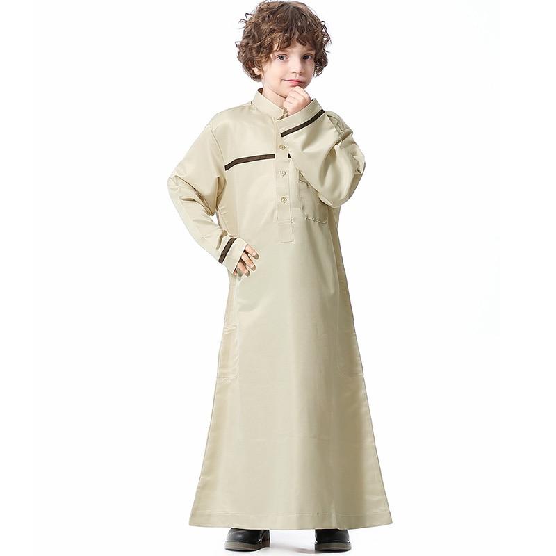 Saudi Arabian teen boy robe Muslim Ramadan long sleeve button pocket little boy dress Islamic mosque travel plus size shirt
