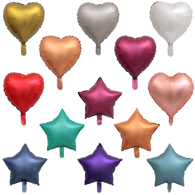 18 Inch Color Heart Shaped Valentine's Day Decoration Birthday Party Balloon Five-pointed Star Wedding Aluminum Film Balloon