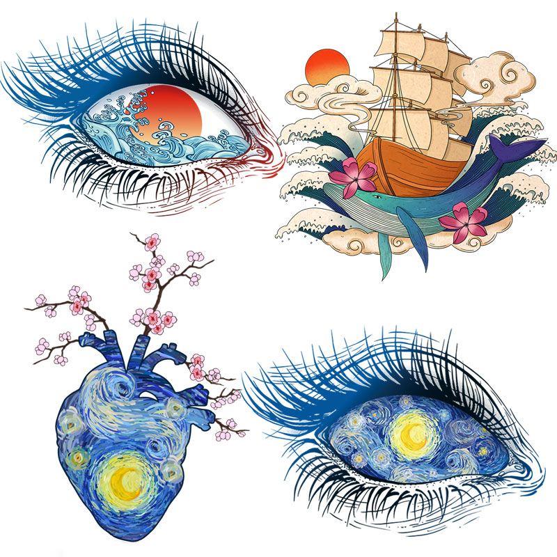 Parches oculares Van Gogh, transferencia de hierro para ropa, Transferencia Térmica de ondas para ropa, apliques de moda en ropa, pegatinas térmicas