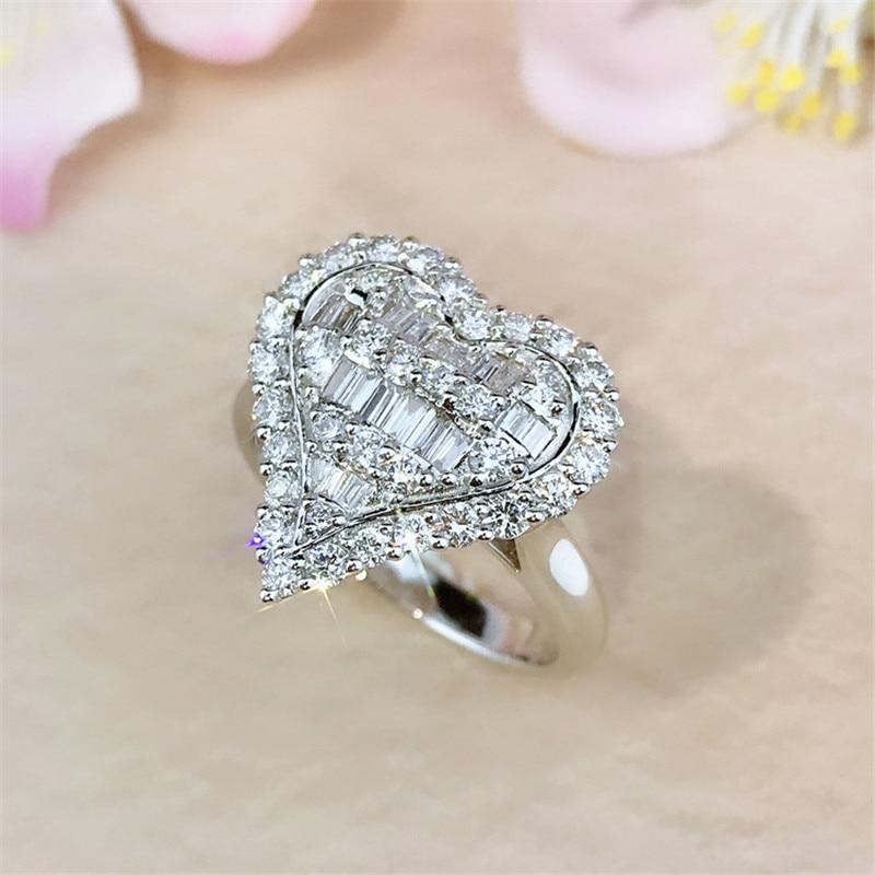 Anillo con forma de corazón Plata de Ley 925 auténtica AAAAA cz anillo de compromiso de boda anillos para mujer nupcial llamativo joyería para fiesta regalo