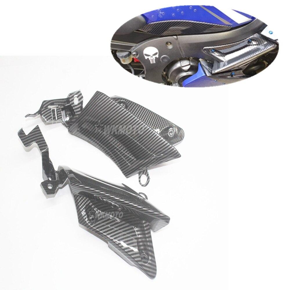من ألياف الكربون رسمت دراجة نارية هدية إطار الجانب غطاء لوحة صالح لياماها YZF600 R6 2003 2004 2005