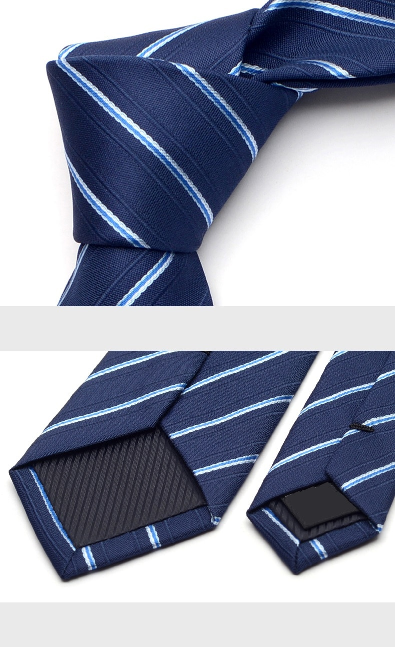 2020 New Arrivals Fashion Designer 6CM Slim Casual Necktie for Men Business Wedding Ties Blue Striped Neck Tie with Gift Box