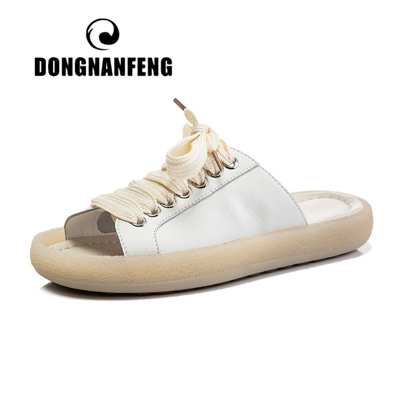 DONGNANFENG Womens Female Ladies Woman Genuine Leather Shoes Sandals Slipper Lace Slip On Summer Cool Beach Breathable Casual