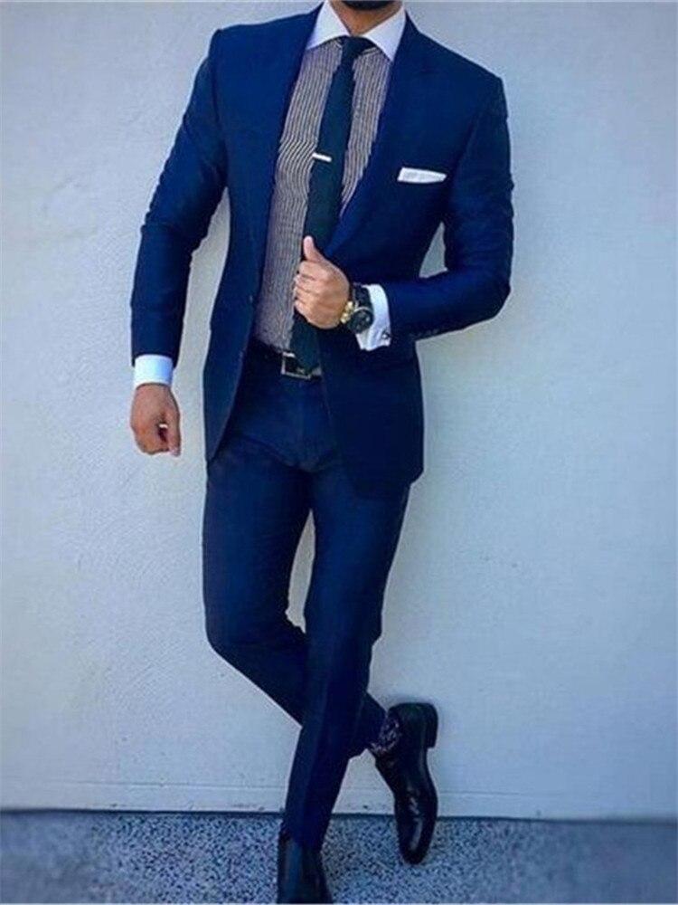 Smolking Noivo Terno-بدلة رجالية للسهرة ، بدلة رسمية للسهرة ، مناسبة للزفاف ، مع جاكيت وسروال ، أزرق ، مجموعة جديدة