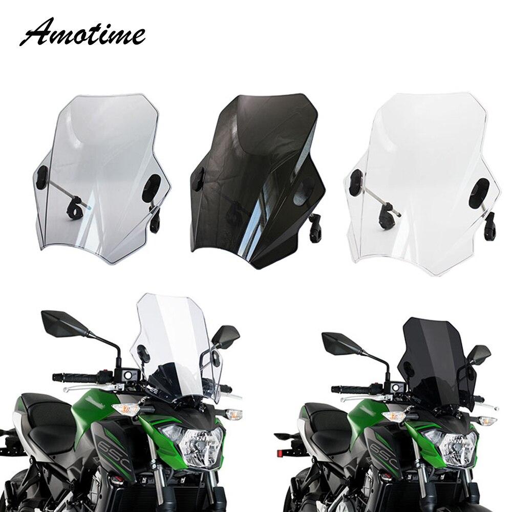 For KAWASAKI SUZUKI YAMAHA HONDA BMW Universal Motorcycle Windscreen Windshield Covers Screen Smoke Lens Motorbikes Deflector