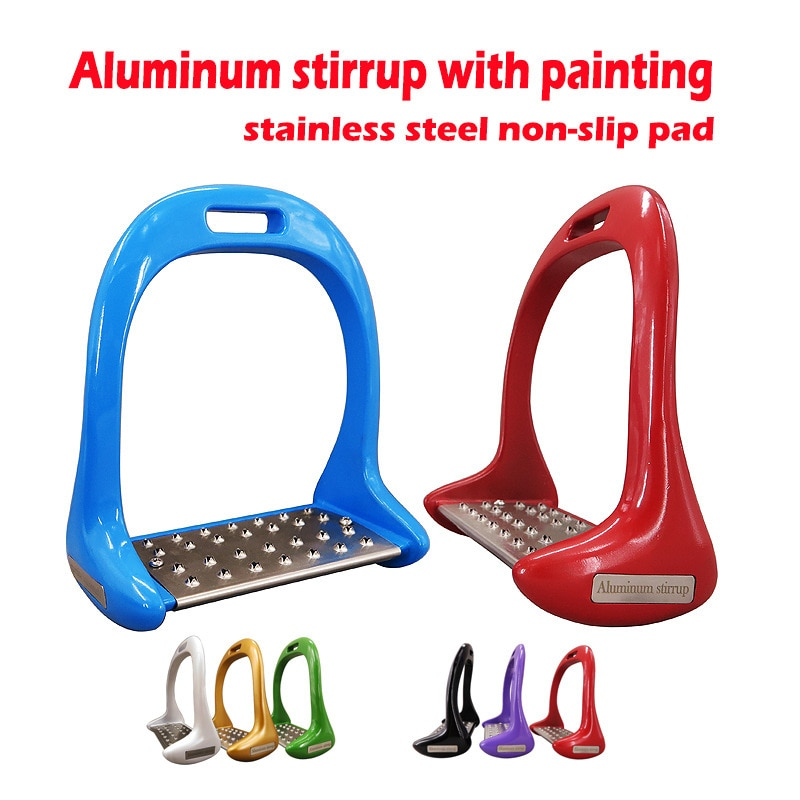Stainless Steel Non-slip Pad Horse Saddle Pedal Die-cast Paint Aluminum Stirrup 1 Pair Thickening Horse Riding Stirrup Equipment