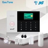 GauTone     Kit de systeme dalarme de securite domestique  wi-fi 3G  433MHz  sans fil  controle avec application domestique  detecteur de fumee et capteur de mouvement  anti-cambriolage