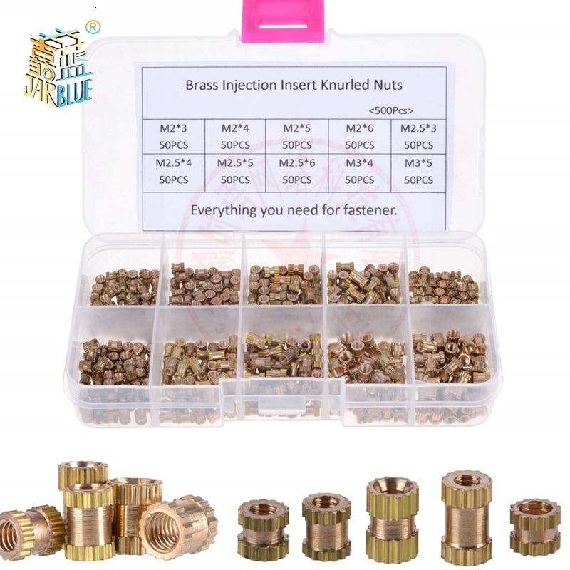 200/500Pcs M2*L-3.5 M2.5*L-3.5 M3*L-4.2(OD) Injection Nut Copper Insert Knurled Nuts Knurling Kit For Electrical