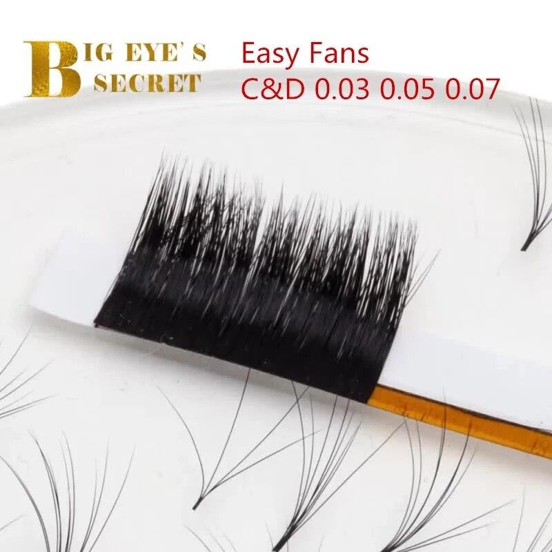 Big Eye's Secret 0.03mm C D Curl Easy Fanning Auto Fan Eyelash Extension Fast Bloom Flowering Mega Volume Fast Pre-bonded Lashes
