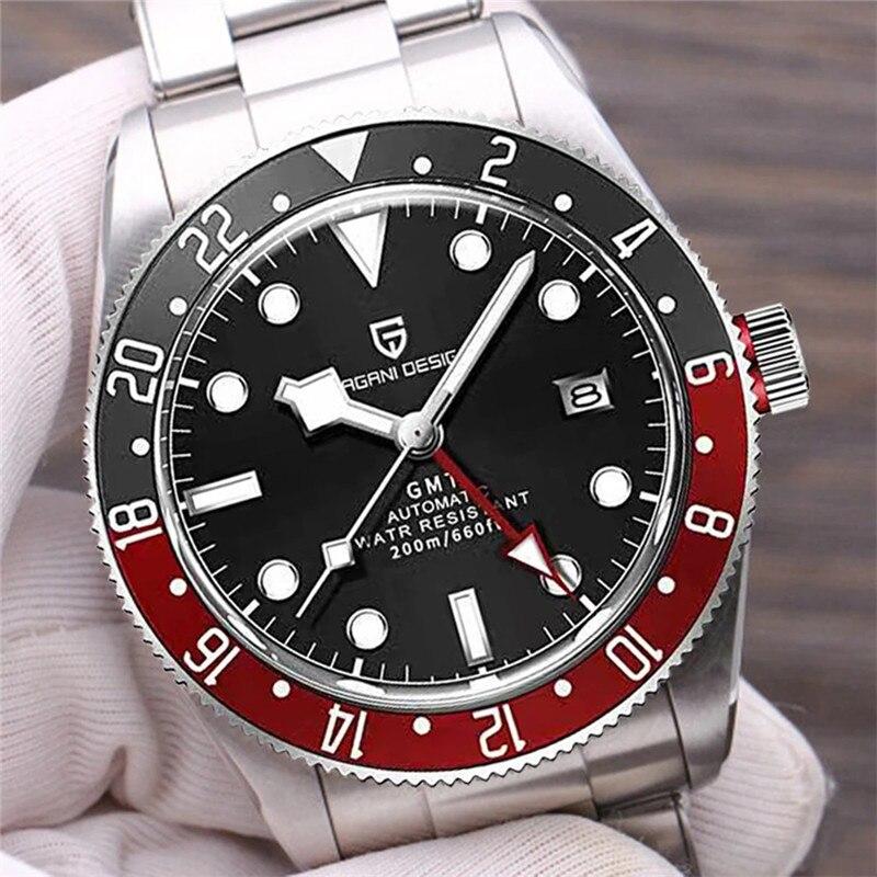 PAGANI DESIGN Original Brand Mens Watches BB58 GMT Mechanical Wristwatch Luxury Men Sapphire Glass Steel Dive Clock reloj hombre