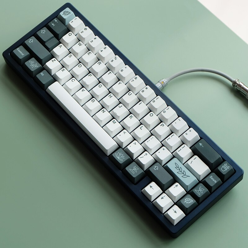 1 Set PBT صبغ غطاء المفتاح للوحة المفاتيح الميكانيكية النباتية مفتاح قبعات الكرز الشخصي مع ISO Enter 6U 6.5U 7U مفتاح المسافة