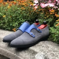 new men shoes fashion casual business all match classic handmade gray suede stitching blue pu double buckle monk shoes ks319