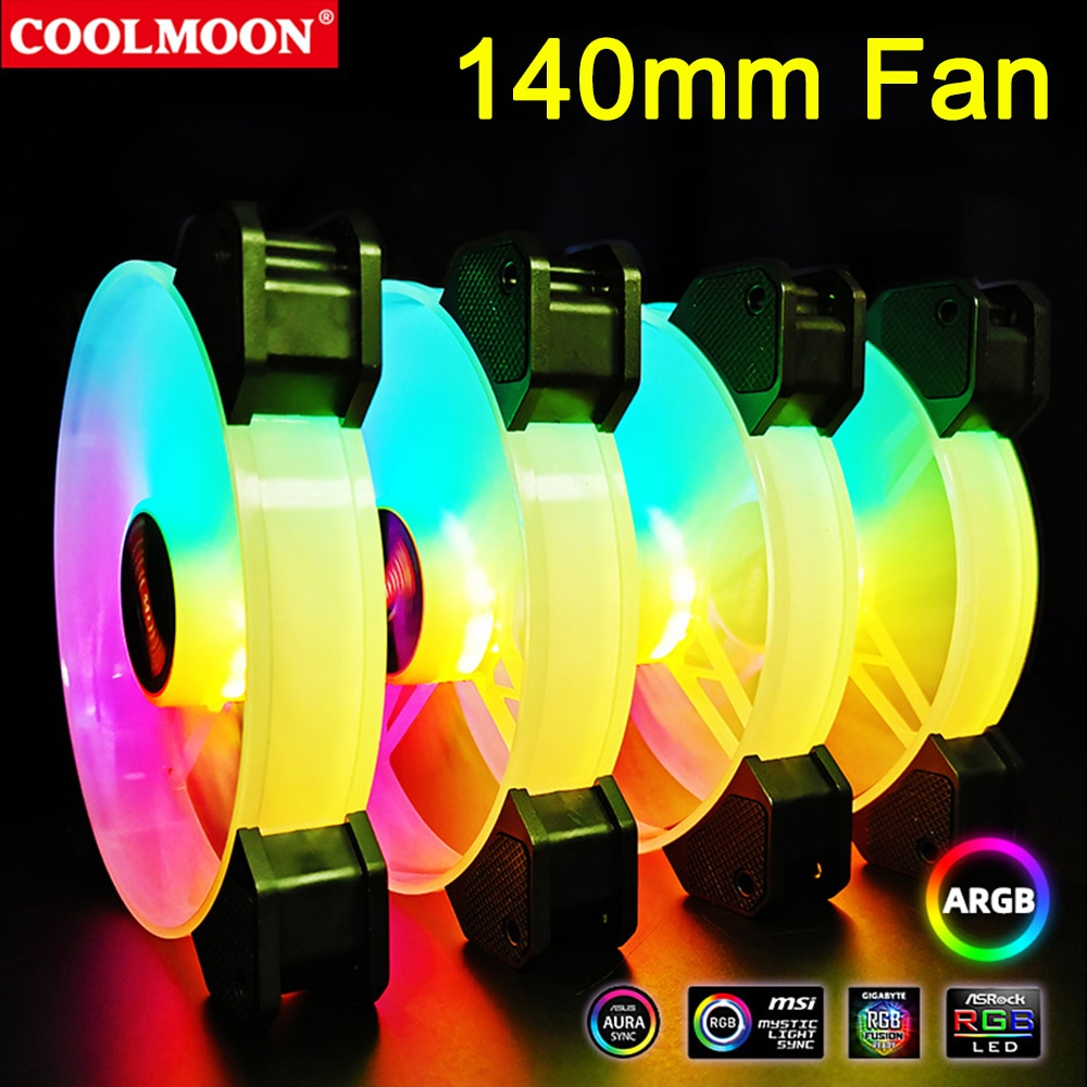 Coolmoon 140mm RGB Chassis Cooling Fan 6Pin Heatsink Dissipation for PC Desktop Computer Case Cooler Support Remote Control