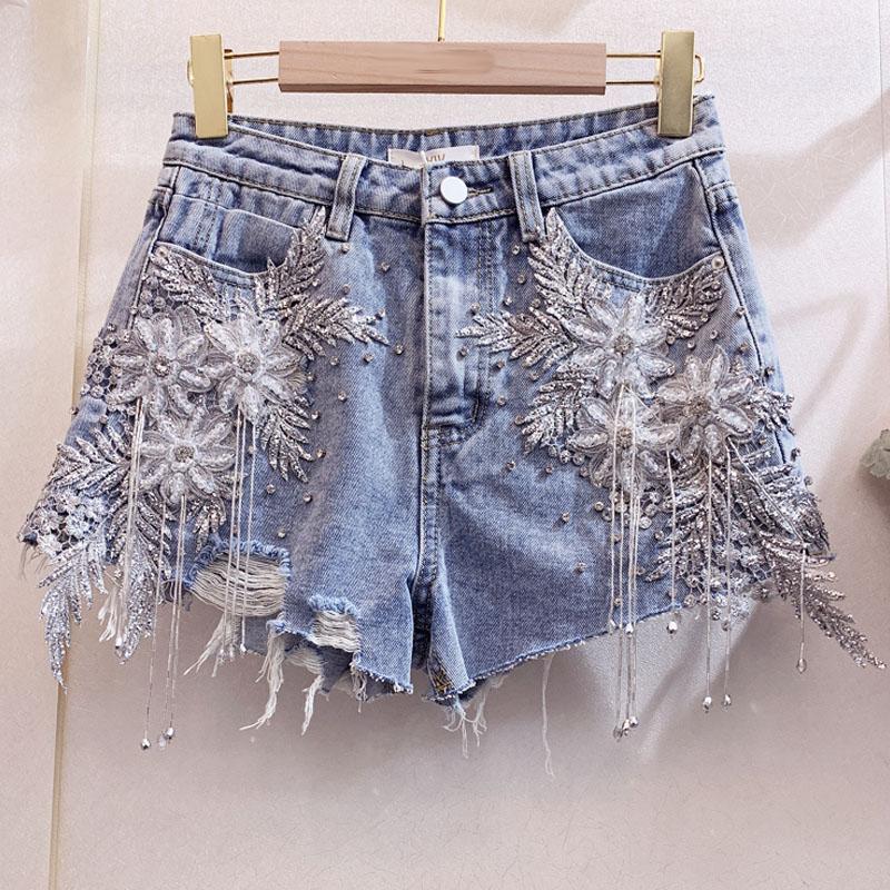 Super Beautiful Lace Flower Beaded Tassels Hole Denim Shorts European American Fashion Burr Hot Pants Club Clothing Jean Shorts