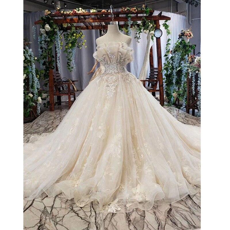 BGW-Vestido De boda especial sin tirantes, tren De corte, apliques Sexy, Espalda descubierta, para boda económico, encaje