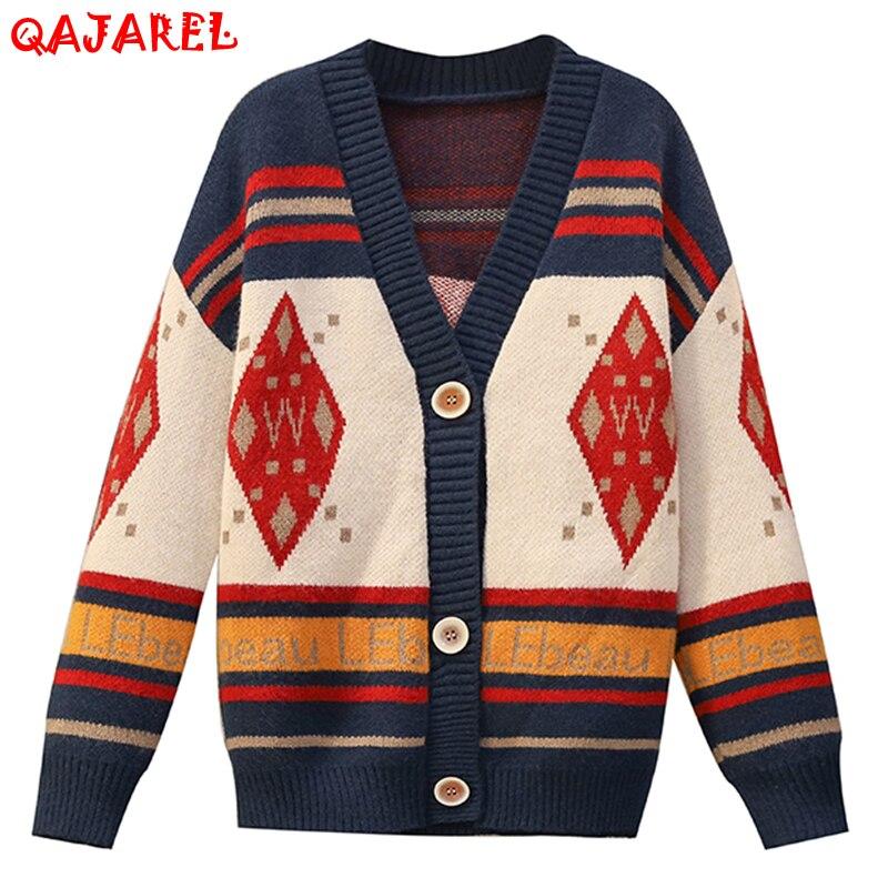 Женские вязаные хлопковые Кофты с красным принтом, кардиган на осень и зиму, плотные теплые винтажные повседневные пальто, элегантные свобо...