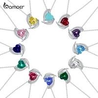 bamoer 2021 fashion birthstone love series necklace 925 sterling silver color zircon necklace women summer pretty jewelry gan218