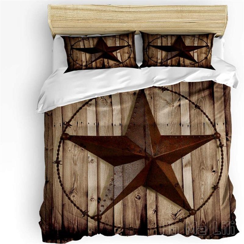 طقم سرير من Ho Me Lili غطاء لحاف ريفي Vintage تكساس ستار الحظيرة خشبية أسفل للكبار النساء الرجال
