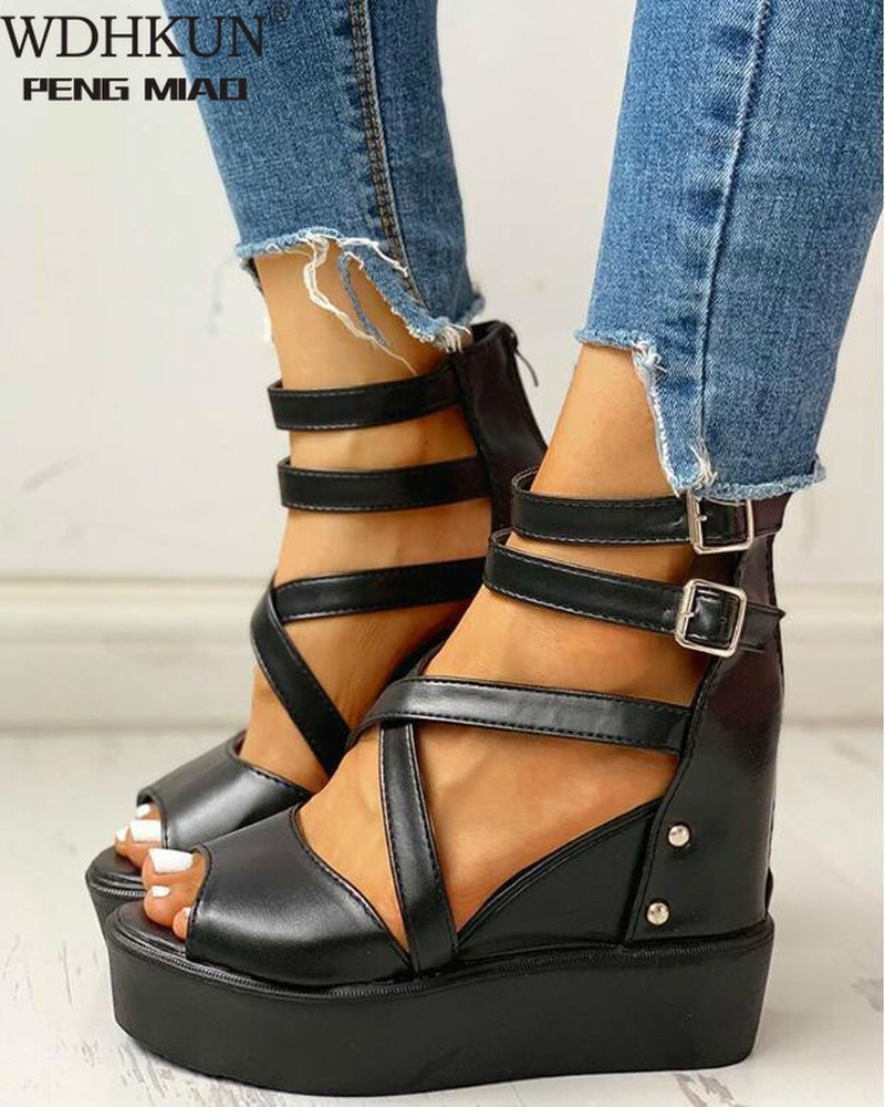 Nova plataforma sommer sandálias 2020 moda feminina cinta sandália cunhas sapatos casuais mulher peep toe alpercatas sandália feminina